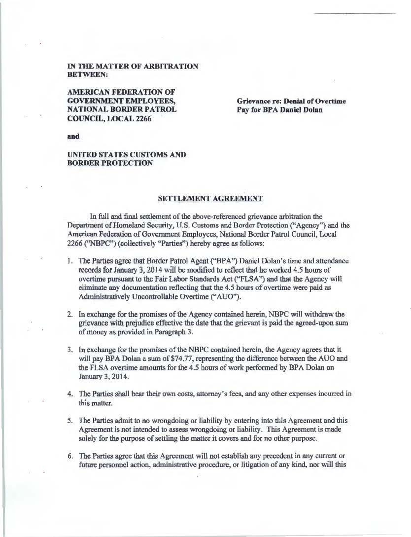 Arbitrationsrulingssettlements Nbpc Local 2266